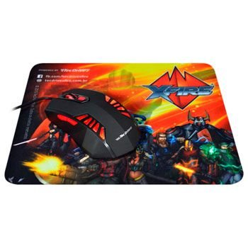 Combo Mouse Gamer TecDrive Xfire 3200 DPI TEC-MG Red + Mouse Pad Gamer XFire Heroes