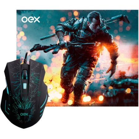 Combo Gamer Mouse e Mouse Pad com Led 7 Botões 2400 dpi - MC-101
