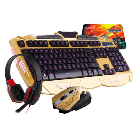 Kit Teclado e Mouse e Headset Gamer V-100 BlackLight