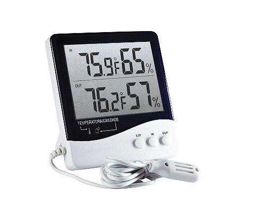 Termo-higrometro digital mede umidade e termperatura interna e externa ref 7664