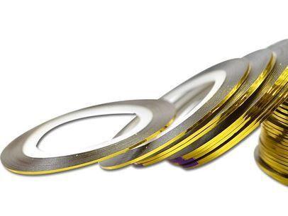 Fita Metálica Adesiva para Unha - Dourada