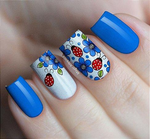 Adesivos de Unha Floral Azul com Joaninha - CB307