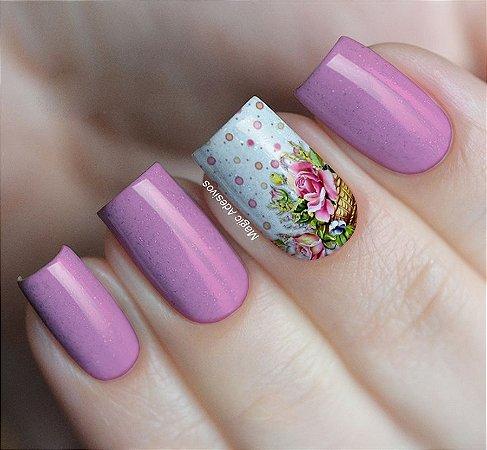 Adesivos de Unha Cesto de Flores - FL46