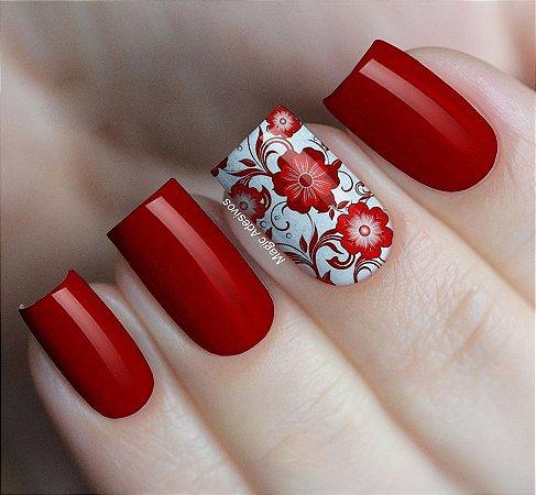 Adesivos de Unha Estampa Floral Tons de Vermelho - FL66