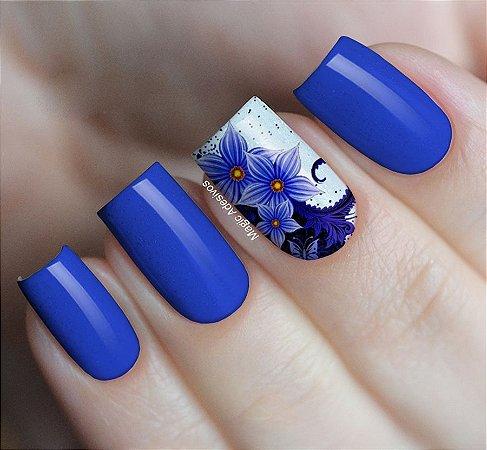 Adesivos de Unha Combinado Flores Azul - FL70