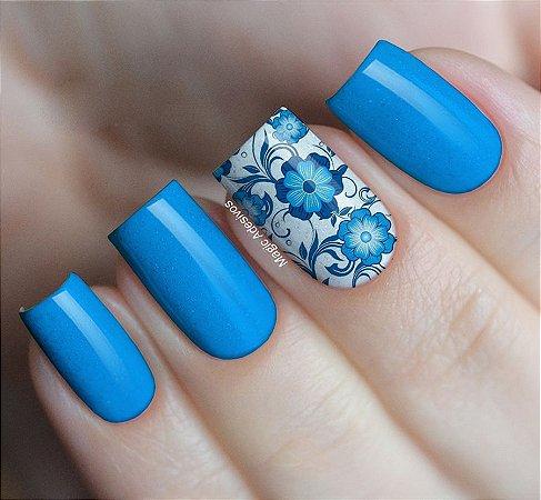 Adesivos de Unha Estampa Tons de Azul - FL71