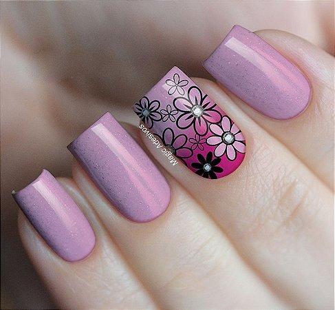 Adesivos de Unha  Flores em Degradê Rosa - FL76