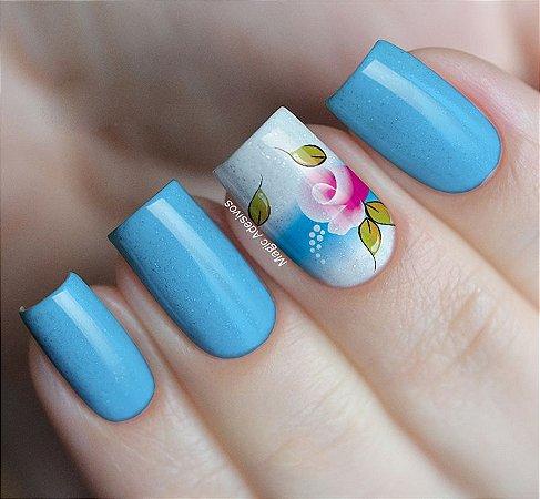Adesivos de Unha  Flor Rosa com Azul - FL77