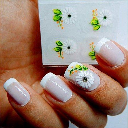 Adesivos de Unha Artesanal Flor Branca - Art17