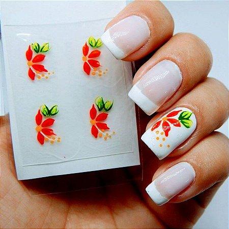 Adesivos de Unha Artesanal  Flor Vermelha - Art19