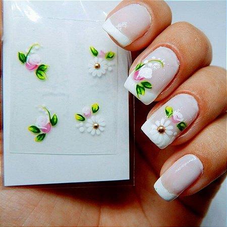Adesivos de Unha Artesanal Combinado Floral Delicado - Art20