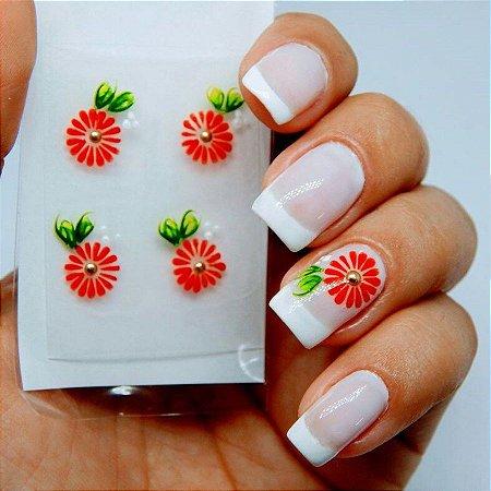 Adesivos de Unha Artesanal Flor Vermelha - Art23