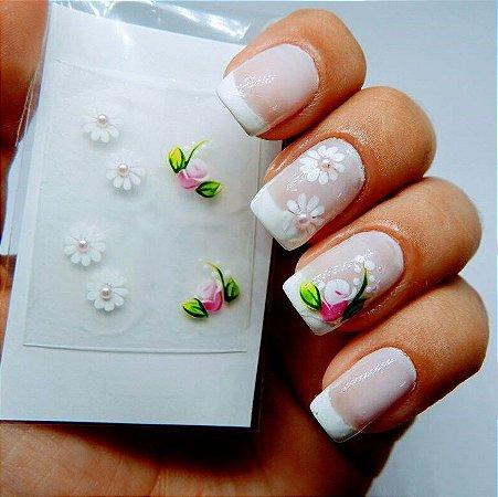 Adesivos de Unha Artesanal Flores Brancas com Rosa - Art24