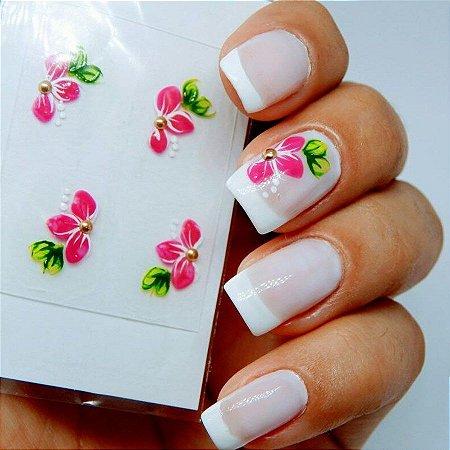 Adesivos de Unha Artesanal Flores Rosas - Art25