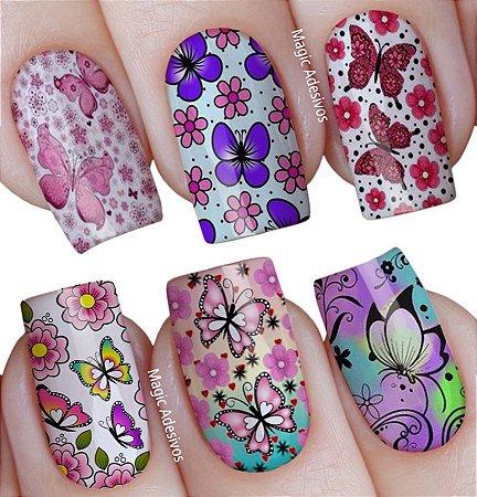 Adesivos de Unha Estampa mista estampas florais borboletas - mit14
