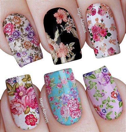 Adesivos de Unha Estampa mista flores vintage diversas - mit23