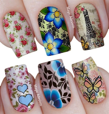 Adesivos de Unha Combinado Floral Retrô com Flores Azuis - Mit34
