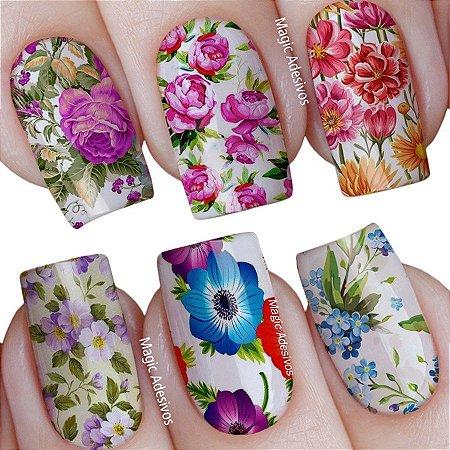 Adesivos de Unha Cartela Mista Floral Retrô Colorido - mit36