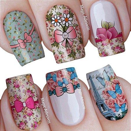 Adesivos de Unha Cartela Mista Beleza Floral Retrô - mit38