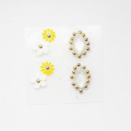 Adesivos de Unha Artesanal Flores Combinado Branco e Amarelo - Art61