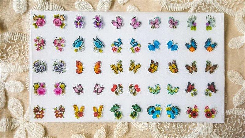 Cartelão Adesivos de Unha 3D - borboletas - 50 adesivos