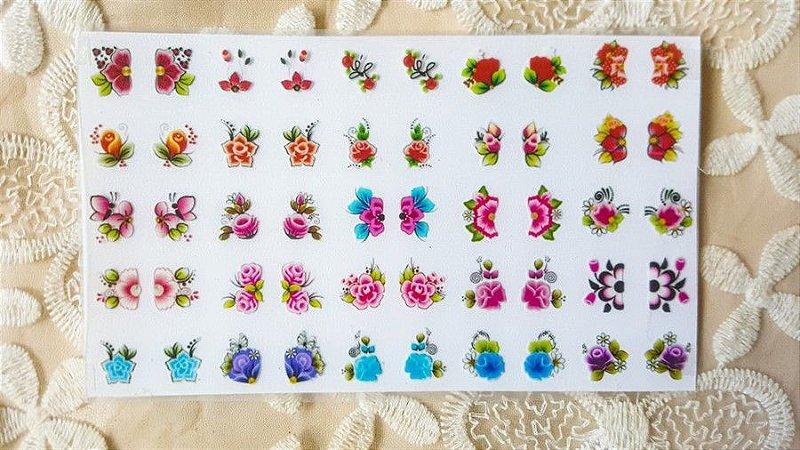 Cartelão Adesivos de Unha 3D - flores - 50 adesivos