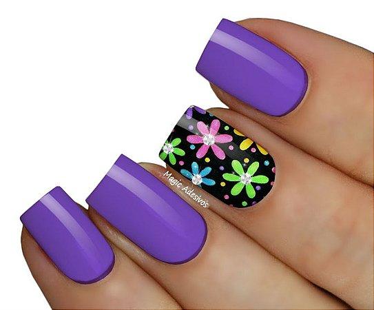 Adesivo de Unha Floral Colorido - Linha Crystal FL41
