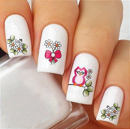 Adesivos de Unha Coruja Rosa com Laço e Flores