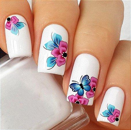 Adesivos de Unha Linda Borboleta com Flores