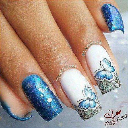 Adesivos de Unha Borboleta Azul com Glitter - BR48