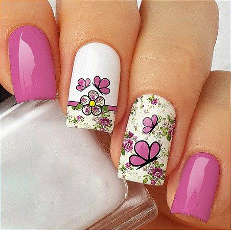 Adesivos de Unha Borboletas com Floral Retrô