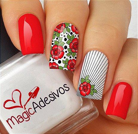 Adesivos de Unha Floral Vermelho com Listras - FL156