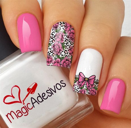 Adesivos de Unha Combinado Floral Rosa com Lacinho - FL158