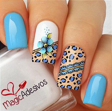 Adesivos de Unha Combinado Oncinha Azul e Flor - CB408