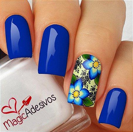 Adesivos de Unha Floral Azul Marcante - FL169
