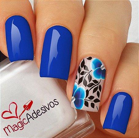 Adesivos de Unha Floral Azul Royal - FL170