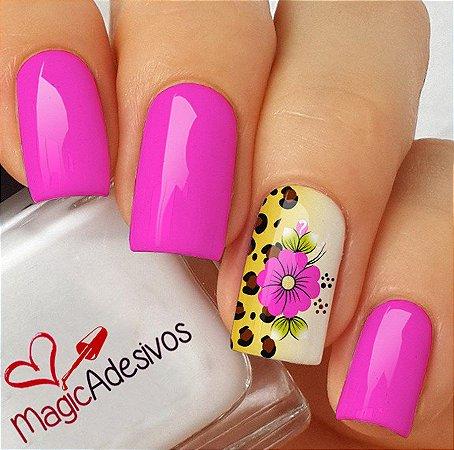 Adesivos de Unha Flor Rosa com Oncinha - FL174