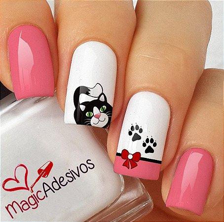 Adesivos de Unha Love Cats - PB126