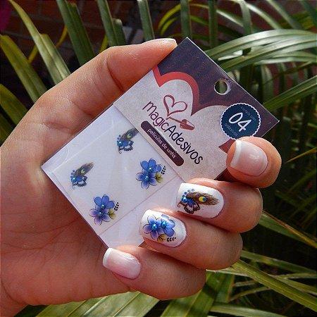 Adesivos de Unha Linha Glamour Flores e Penas de Pavão - GR09