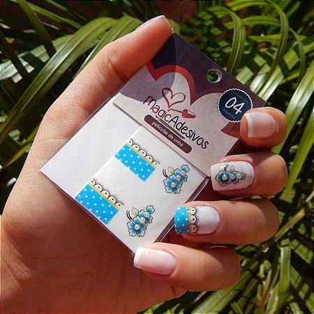 Adesivos de Unha Linha Glamour Flores com Francesinha - GR10