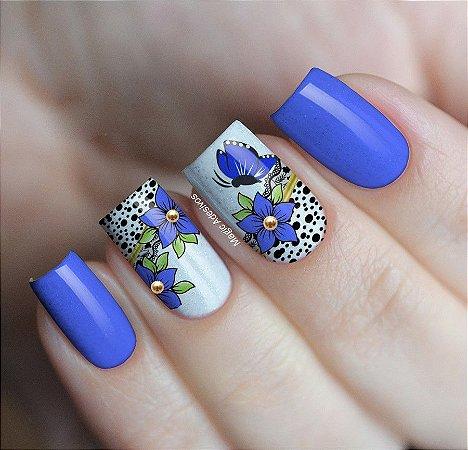 Adesivos de Unha Borboletas com Flor Azul - GR21