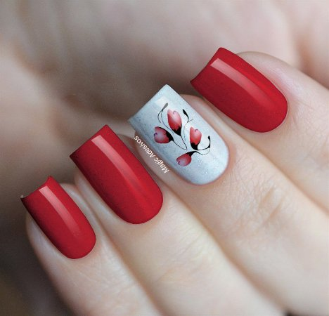 Adesivos de Unha Ramos de Flores Vermelho - FL186