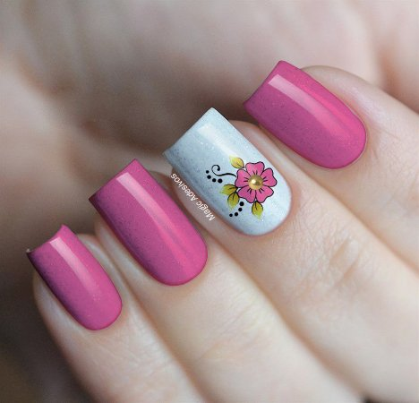 Adesivos de Unha Flor Rosa com Tachinha Dourada - GR25