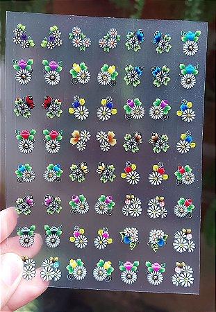 Cartelão 3D - FLORES 08 - 56 Adesivos