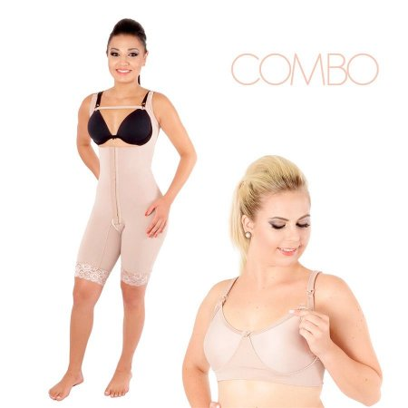 COMBO: Modelador pós parto c/perna e s/ busto + Sutiã de amamentação