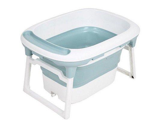 Banheira Média Dobrável com Plug Térmico Azul Baby Pil - BNMR