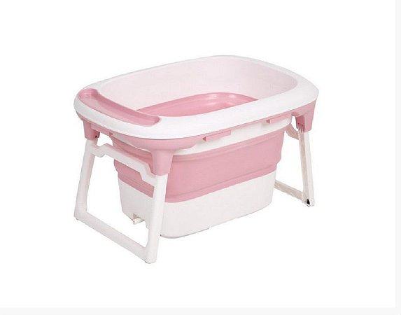 Banheira Média Dobrável com Plug Térmico Rosa Baby Pil - BNMR