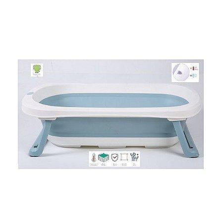 Banheira Pequena Dobrável com Plug Térmico Azul Baby Pil - BNPA