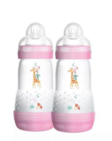 Mamadeira First Bottle / Easy Start Autoesterilizável MAM - 260ml Rosa - Embalagem Dupla - 4674RSGF