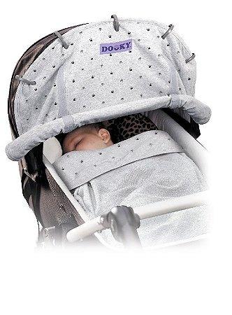 Capa Universal para Carrinho de Bebê Coroa Cinza Claro Dooky - 1310